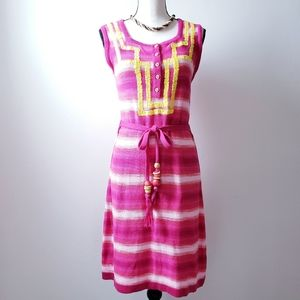 Nanette Lepore Knit Embroided Striped Pink Dress